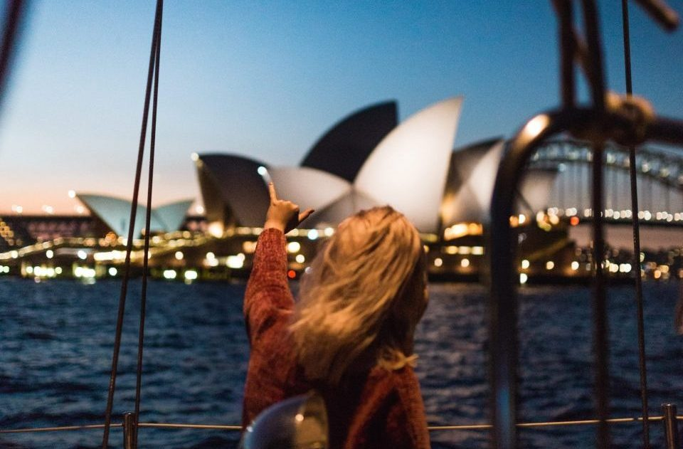 Woman at Sydney harbour after international lottery win
