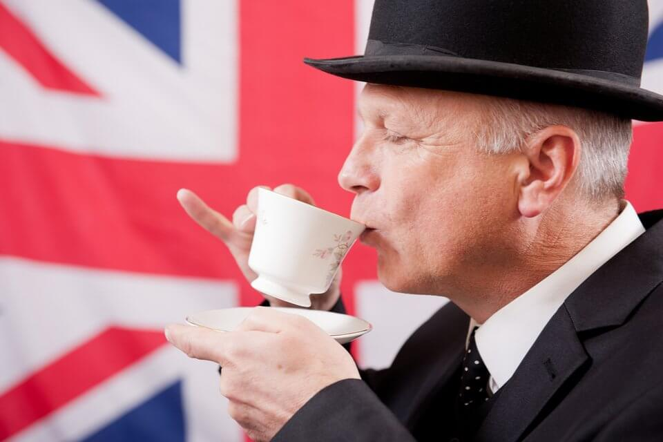 UK National Lottery winner gent sipping tea