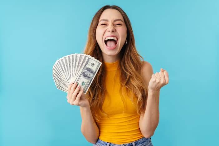 woman winning the lottery